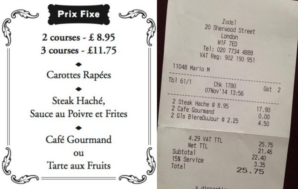 Brasserie Zédel Fixed Price Menu